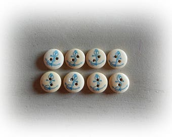 8 buttons Navy theme / ink Navy - Blue and cream - 15 mm in diameter