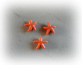 3 beads 15 mm light orange howlite starfish