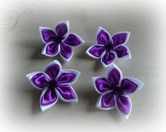 4 appliques 5 petal flower violet white 5.5 cm satin