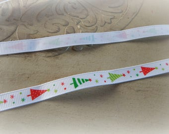 1 meter Ribbon grain printed Christmas tree / winter red, green and white 10 mm