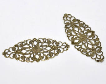 2 connectors prints filigree 8 * 3.5 cm long color bronze