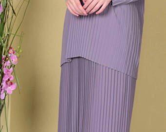 Pleated Jersey Tunic and Skirt Set