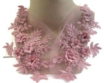 Pink Lace Applique 3D Pair, Dusty Pink Lace Applique, Tutu Decoration, Dance Costume Embellishment, #29