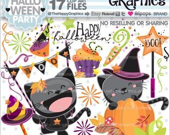 Halloween Clipart, 80%OFF, Halloween Graphic, COMMERCIAL USE, Halloween Party, Halloween Cat, Halloween Celebration, Halloween Kawaii, Cat