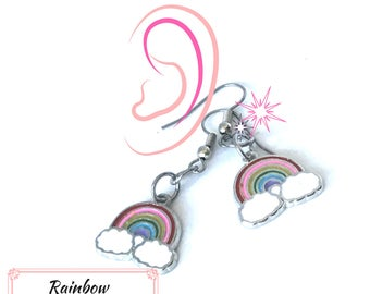 Silver Rainbow Earrings, Girlfriend Gift, Rainbow Earrings, Good Luck Gift,Gal Pal Gift, Friendship Gift,Thank You Gift, Free Local Shipping