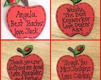 Personalised Nursery Preschool School Teacher Apple Magnet Thank You Leaving Gift
