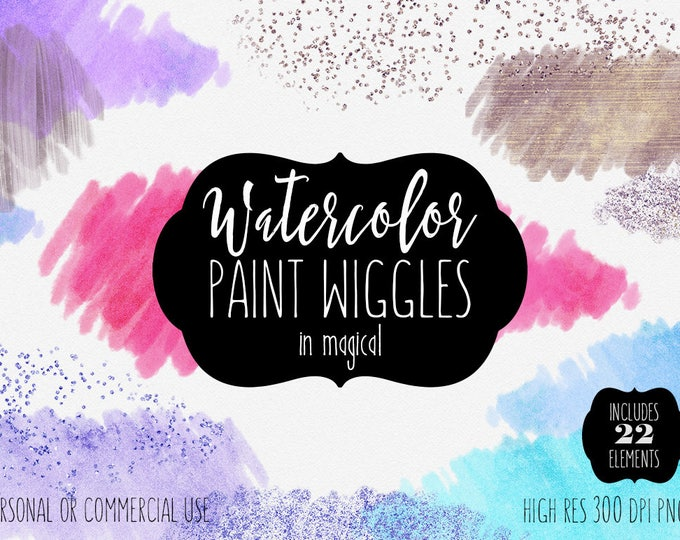 PINK WATERCOLOR PAINT Strokes Clipart Commercial Use Clip Art 22 Watercolor Brush Wiggles Purple Silver Confetti Watercolor Banner Graphics