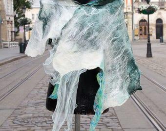 Felted silk scarf, Nunofelted Scarf, wool scarf, summer silk scarf, nuno felt scarf, silk scarf wool shawl designer scarf turquoise scarf