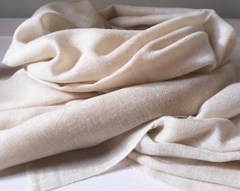Pashmina shawl hand loom Sugar White