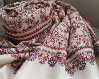 Pashmina Shawl JALI Embroidery White Floral Design