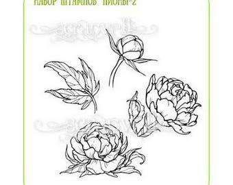 Сlear stamp Peony peonies scrapbook flower flora scrapbooking cardmaking stamps stamping scrapbooking supplies flowers stamps