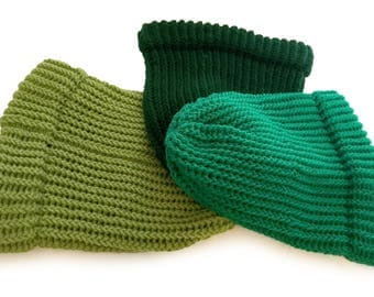 Green Knitted Slouch Hat - Made to order Green Knit Beanie