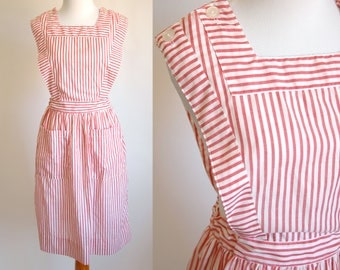 50s Red and White Candy Striper Uniform - Hospital Volunteer Candy Striper Pinafore Dress - Size Small