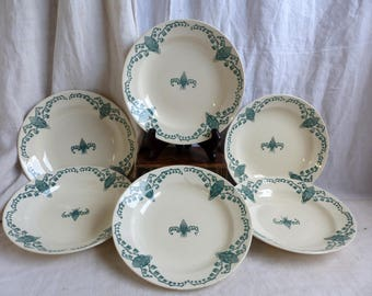 Set of 6 Antique french green transferware soup plates. Art Nouveau Lily of the Valley. Salad plate Pasta bowls. Emerald green Botanic image
