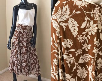 Floral Silk Maxi Skirt, Vintage 90's Copper Brown Floral Print Skirt, Long Fit and Flare Maxi- size XL