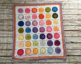 Hand crocheted Rainbow baby blanket