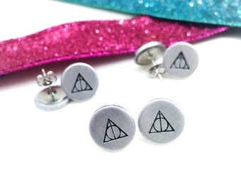 Hand Stamped Wizard Symbol Stud Earrings | Potterhead | geek | fandom jewelry | book nerd | gifts under 20 | hogwarts