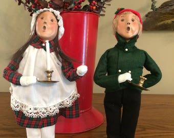 1998 Byers Carolers, Candlestick Children, Brother and Sister, Byers Carolers, Retired Caroler, Holiday Decor, Candle,