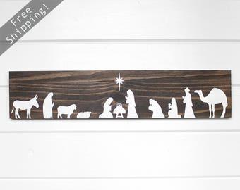 "Wood Nativity Scene, Rustic Christmas Decorations, Christmas Decorations Wood, Holiday Sign, Nativity Wood Sign, Rustic Nativity, 24"" x 5.5"""