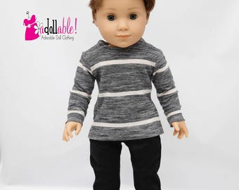 American made Boy Doll Clothes, 18 inch Boy Doll Clothing,  Heather Top with Black Pants, made to fit like American girl doll clothes