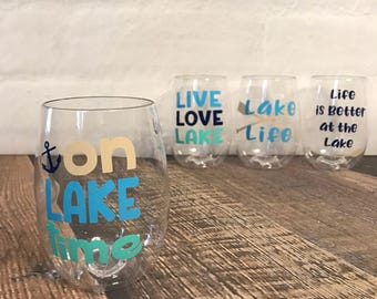 Lake wine glass-  shatterproof wine glass - stemless wine glass - wine glass- lake house gift