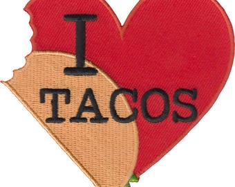 """I Heart Tacos Iron On Patch 3.25"""" x 3"""" Free Shipping PH554"""