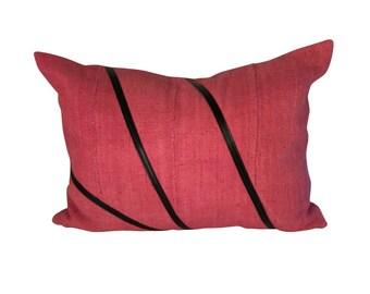 Pink Lumbar Pillow, Authentic Mud Cloth Pillow, Mudcloth Pillow Cover, Long Throw Pillow  12x18, 12x20, 12x22, 14x20
