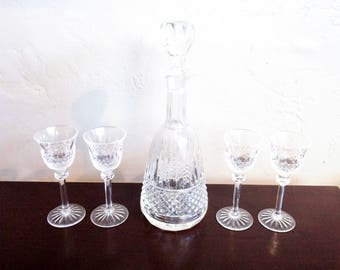 Vintage Cut Glass  Decanter and Liquor Glasses