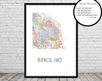 Buenos Aires Map, Buenos Aires, Buenos Aires Print, watercolor Buenos Aires, Map of Buenos Aires, Argentina, Buenos Aires (3830b)