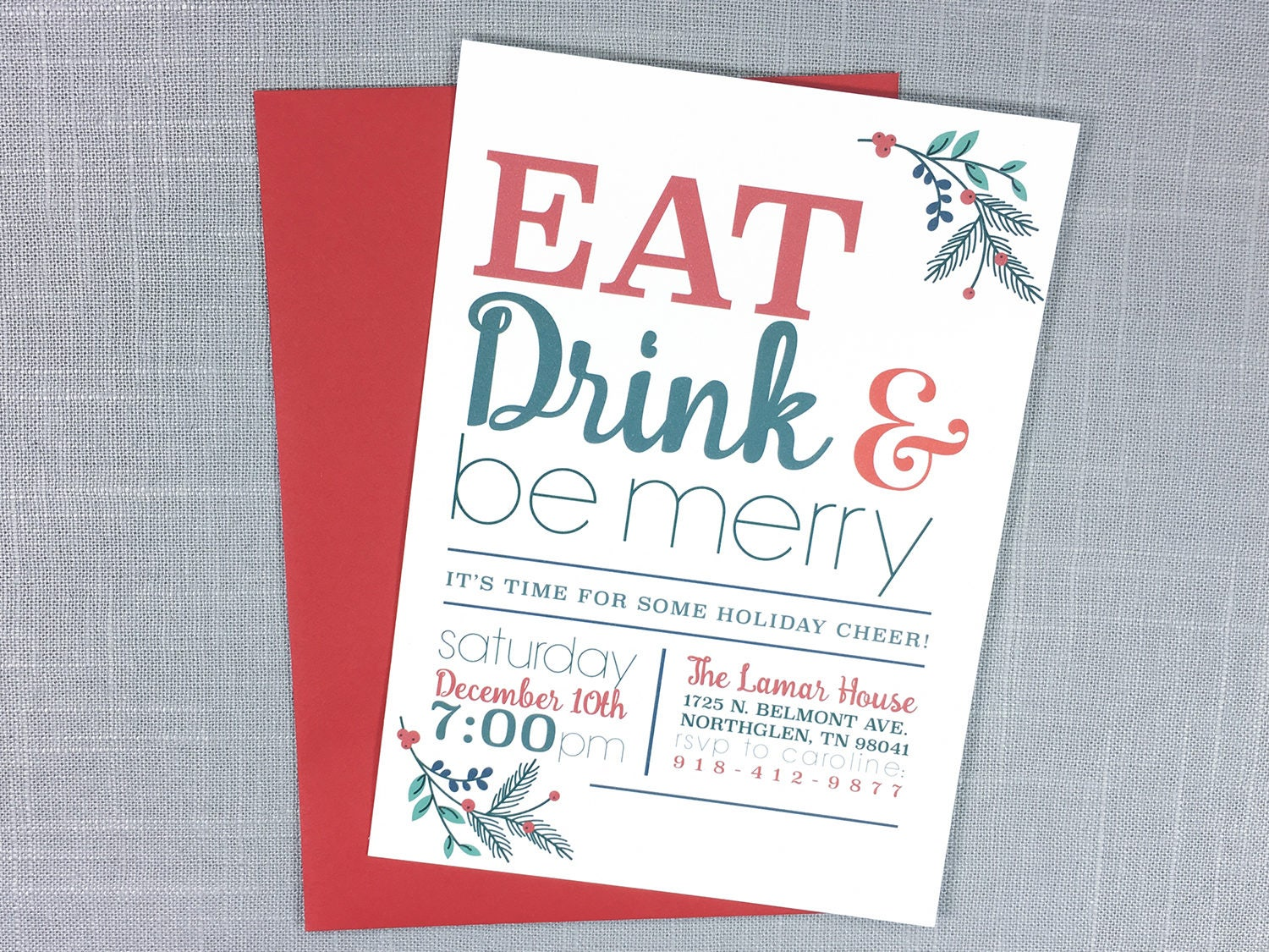 Christmas Party Invitations, Holiday Cheer Invitations, Holiday ...