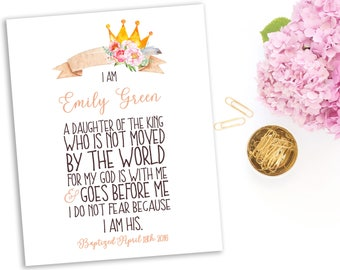 Baby Girl Bible Verse Baptism Gift I Am The Daughter Of A King Quote First