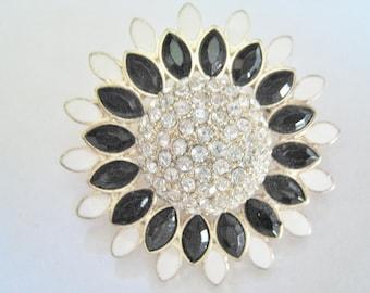 White & Black w/ Rhinestones Pin