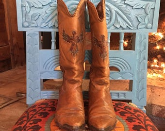 Zodiac Cowboy Boots 7.5 with Feather Thunderbird