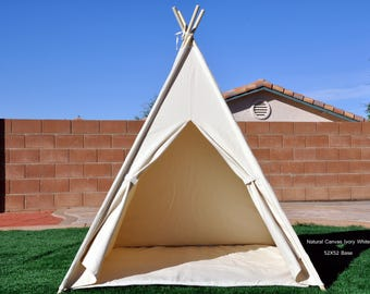 Natural Canvas Plain Kids Teepee with poles, Play Tent, Play House, Tipi,Room Decor