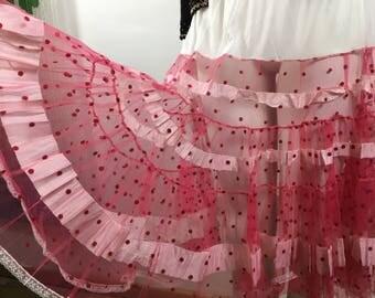 Vintage polkadot flock netted petticoat pink underskirt