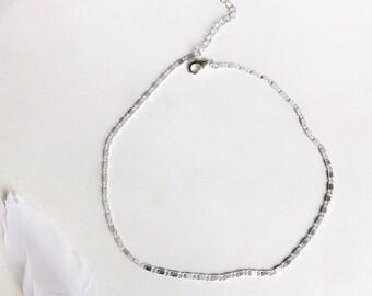 Silver Disc Choker, Disc Choker, Silver Choker Necklace, Silver Choker
