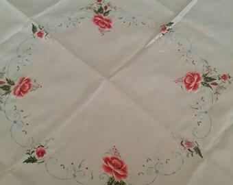 Beautiful Square Embroidered Cream Cotton Tablecloth