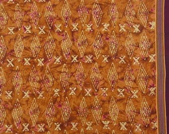 "Rust Orange Decorative Fabric, Printed Fabric, Dress Material, Sewing Fabric, 42"" Inch Cotton Fabric By The Yard ZBC8487A"