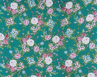 "Dress Material, Floral Print Fabric, Quilting Fabric, Home Accessories, Teal Green Fabric, 42"" Inch Cotton Fabric By The Yard ZBC8660B"