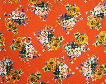"Sewing Fabric, Floral Print, Orange Fabric, Dressmaking Fabric, Handcrafted, 46"" Inch Cotton Fabric By The Yard ZBC8966B"