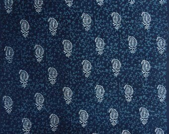 """Upholstery Fabric, Paisley Print, Ethnic Fabric, Blue Fabric, Sewing Decor, 45"""" Inch Cotton Fabric By The Yard ZBC9039A"""