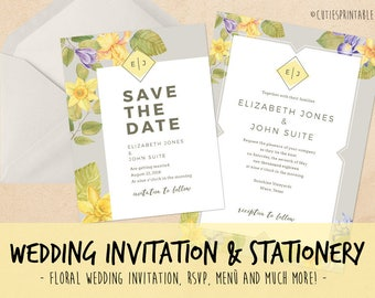 Instant Download: 9 PSD Watercolor flower Wedding Invitation & Stationery Templates - 3 type of FREE Fonts