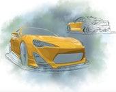 CUSTOM Commission: Vehicle Drawing FR-S