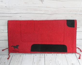 Monogrammed Red Western Saddle Pad Felt Bottom- Name- Horse Tack Western Saddle Pad- Horse Gift