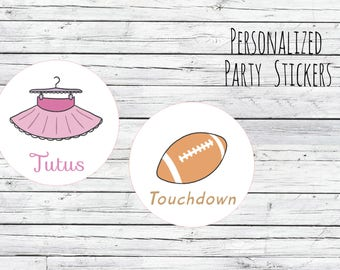 DIY Tutus Or Touchdowns Football Gender Reveal Party Stickers Team Boy, Team Girl, Baby Shower Voting, Favor Tags, Labels, You Choose Size