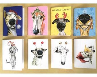 Dog Greeting Card, Dog Holiday Card, Dog Card, Whippet Card, Greyhound Card, Sighthound Card, Dog Christmas Card, Christmas Cards