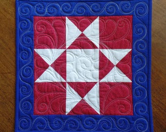 Quilted Americana Table Topper, Modern Table Runner, Red White and Blue Star Centerpiece, Secret Sister Gift, Hostess Gift, Co-worker Gift