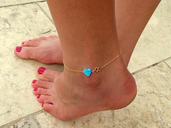 Opal anklet / Heart Opal anklet / Gold Bracelet / Foot