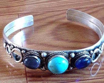 Vintage Amethyst Turquoise Threestone Cuff Bracelet