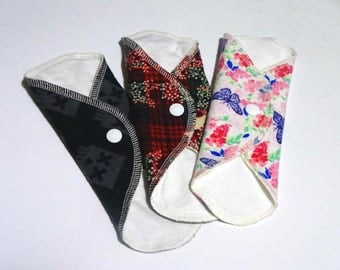 "3 Pack 9.75"" Long REUSABLE CLOTH PADS/Bamboo & Cotton Flannel Pads Set"